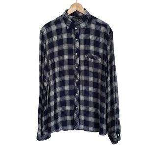 SAKS FIFTH AVENUE Navy & White Check Soft Shirt L